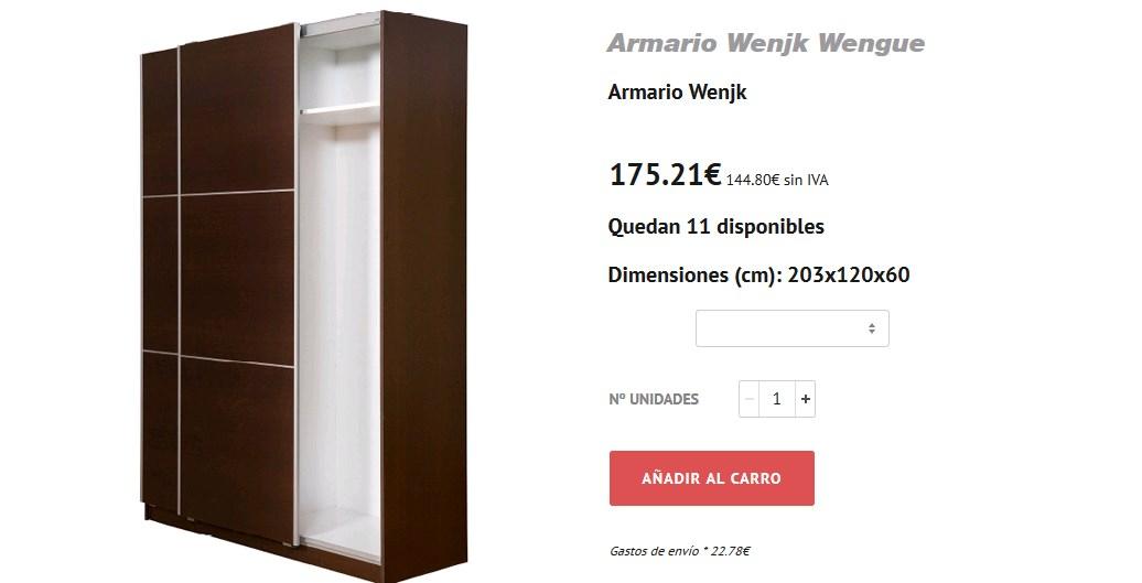 armario ropero barato puerta corredera